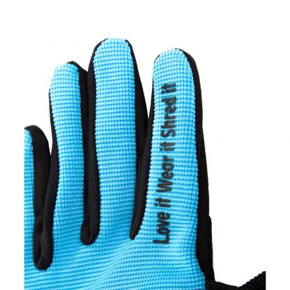 Child Full finger trail glove blue finger text